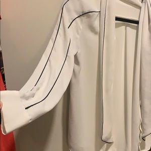 Zara white button down blouse with black piping